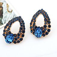 드랍 귀걸이 고급 보석 보석 모조 큐빅 모조 다이아몬드 합금 드롭 블루 보석류 용 2pcs