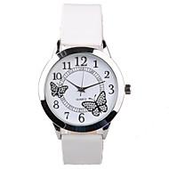 Dames Dress horloge Modieus horloge Kwarts Waterbestendig imitatie Diamond PU Band Glitter Vlinder Wit Wit