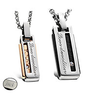 Personalized Jewelry Valentine's Day Gift Lovers' Titanium Steel Gold/Black Necklace(One Pair)