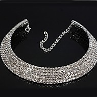 Necklace Imitation Diamond Choker Necklaces Jewelry Wedding / Party Circle Alloy / Rhinestone Silver / White 1pc Gift