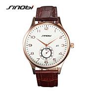 SINOBI Masculino Relógio de Pulso Quartzo Calendário Impermeável Relógio Esportivo Couro Banda Luxuoso Marrom Marron