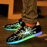 erkekler floresan siyah gündelik moda spor ayakkabılar şarj ayakkabı usb led / gri / altın