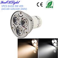 YouOKLight® 1PCS GU10 3W 220LM 3000/6000K  White/ Warm White 3-High Power LED Spot Light Bulb - (AC110-120/220~240V)