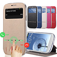 Mert Samsung Galaxy tok Kártyatartó / Állvánnyal / Betekintő ablakkal / Flip Case Teljes védelem Case Egyszínű Műbőr Samsung J7 / J5