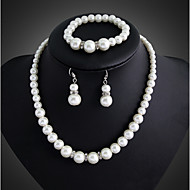 Damen Schmuckset Tropfen-Ohrringe Perlenkette Perle Elegant Brautkleidung Modeschmuck Perle versilbert Schmuck Ohrringe Halskette Armband