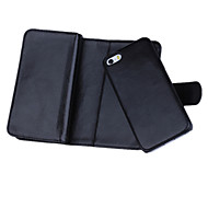 Pour Coque iPhone 5 Portefeuille Porte Carte Clapet Coque Coque Intégrale Coque Couleur Pleine Dur Vrai Cuir pouriPhone 7 Plus iPhone 7