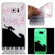 For Samsung Galaxy Case Glow in the Dark Case Back Cover Case Cat TPU Samsung S7