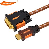 DVI 케이블 고속 금 옐로 나이프 HDMI는 HDTV의 X 박스 PS3의에 대한 남성 - 남성 1080p의 플러그 도금