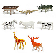 8pcs Animal Action Figures Set Modeling Giraffe / Deer / Zebra / Cow / Sheep / Rhino / Hippo / Crocodile
