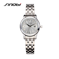 SINOBI 女性用 ファッションウォッチ カレンダー 耐水 クォーツ 合金 バンド エレガント腕時計 ラグジュアリー シルバー
