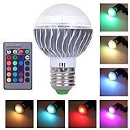 1 stk. HRY E26/E27 3 Højeffekts-LED 300 LM RGB A60(A19) Justérbar lysstyrke / Fjernstyret / Dekorativ LED-scenelampe AC 85-265 V