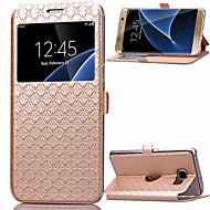 Para Samsung Galaxy S7 Edge Porta-Cartão / Com Suporte / com Visor / Flip Capinha Corpo Inteiro Capinha Estampa Geométrica Couro PU