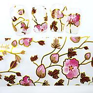5PCS New 100x4cm 2016  Beautiful Flower Glitter Silver Strips Nail Foils  DIY Decorations Nail Art Sticker STZXK55