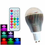 9W GU10 LED-pallolamput A60(A19) 3 Teho-LED 500 lm RGB Himmennettävä / Kauko-ohjattava / Koristeltu AC 100-240 V 1 kpl