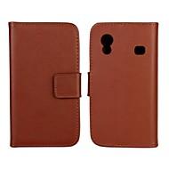 Mert Samsung Galaxy tok Pénztárca / Kártyatartó / Állvánnyal / Flip Case Teljes védelem Case Egyszínű Műbőr Samsung Ace