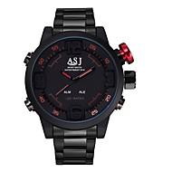 ASJ 남성 손목 시계 일본 쿼츠 LED 달력 방수 듀얼 타임 존 경보 디지털 스테인레스 스틸 밴드 블랙