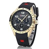CURREN 男性 軍用腕時計 リストウォッチ クォーツ 日本産クォーツ ラバー バンド ラグジュアリー ブラック ブルー