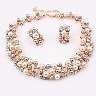 Smykkesæt Perle Imitation Diamond Halskæde / Øreringe Bryllup Fest 1 Sæt Halskæder Øreringe Bryllupsgaver