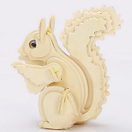 Jigsaw Puzzles 3D Puzzles / Wooden Puzzles Building Blocks DIY Toys Squirrel Wood Beige Model & Building Toy