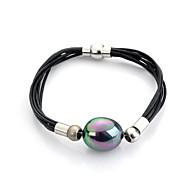 Dames Armbanden met ketting en sluiting Vriendschap armbanden Lederen armbanden Survival Armband Oorbellenset Parel Leder Verzilverd Zwart