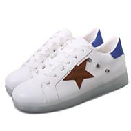 패션 스니커즈-야외 / 캐쥬얼 / 운동-여성의 신발-둥근 앞코-레더렛-플랫-블루