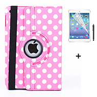 360 Degree Round Dots PU Leather Flip Cover Case for iPad Air +Screen Protector Film Stylus Pen(Assorted Colors)