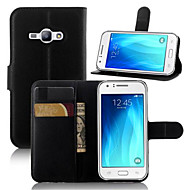 For Samsung Galaxy Case Wallet / Card Holder / with Stand / Flip Case Full Body Case Solid Color PU Leather SamsungJ5 (2016) / J3 Pro /