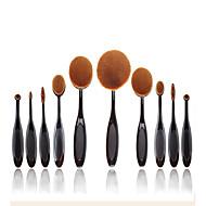 2016 New 10 Pcs Soft Oval Toothbrush Makeup Brush Sets Foundation Brushes Cream Contour Powder Blush Concealer Brush Cream Cosmetic Puff Batch