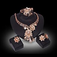 クリスタル 模造ダイヤモンド 高級ジュエリー ラインストーン ゴールドメッキ 18K 金 模造ダイヤモンド 合金 ゴールド ネックレス イヤリング・ピアス リング ブレスレット のために 結婚式 パーティー 1セット ウェディングギフト