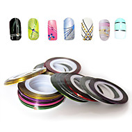 30PCS Mixs Color Foil Stripping Tape Line Nail Stripe Tape Nail Art Decoration Sticker (30Pcs/Package)