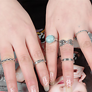 Women's Vintage Round Turquoise Geometric Metal Leaves Ring Alloy Ring Set