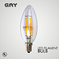 1 pcs GMY E12 3.5W 4 COB ≥350 lm Warm White CB10 Dimmable / Decorative LED Candle Lights AC120V 2700K Clear