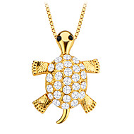 søde skildpadde dyr krystal smykker vedhæng 18K forgyldt mænd / kvinder gave p30138