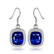 2016 Nobe Fine Platinum Plated Blue Sapphire CZ Drop Earrings For Women