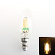 1 st Zweihnder E26/E27 4W 4 COB 380 lm Varmvit C35 Dekorativ LED-kronljus AC 220-240 V