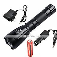 LED Lommelygter Lommelygter LED 2200/1000 Lumen 5 Tilstand Cree XM-L T6 18650 Justerbart Fokus Vanntett Genopladelig