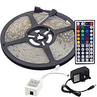 5m 300x3528 smd RGB LED stripe lys og 44key fjernkontroll og 3a uk strømforsyning (ac110-240v)