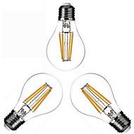 3 pcs KWB E26/E27 4W 4 COB 400 lm Warm White A60(A19) edison Vintage LED Filament Bulbs AC 110-130 / AC 220-240 V