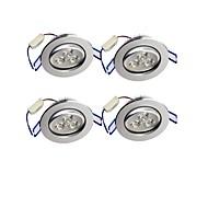 3W 埋込式ライト 埋込み式 3 ハイパワーLED 300 lm 温白色 装飾用 AC 85-265 V 4個