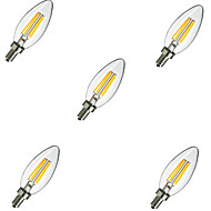 5pcs e14 4W 400lm varm / kald hvit 360 graders edison filament lys ledet stearinlys pære (220V)