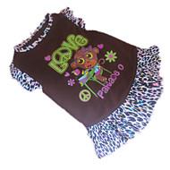 개 드레스 브라운 강아지 의류 여름 동물 레오파드