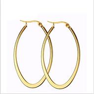 Dames Ring oorbellen Modieus Titanium Staal 18K goud Cirkelvorm Ovalen vorm Sieraden Voor Feest Dagelijks Causaal