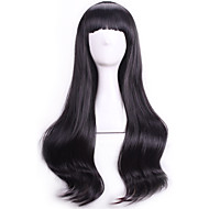 Fashion Black Wavy Curly Sexy Pelucas Natural Realistic Wigs Cosplay Wigs Perruque Cheap Synthetic Hair Wigs Bangs