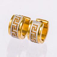 1 Pair Men's  Gold/Silver/Black Stainless Steel with Crystal Hoop Stud Earrings Fine Jewelry Christmas Gifts