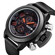 Hommes Bracelet Montre Quartz Japonais Calendrier / Chronographe / Etanche Silikon Bande Noir Marque- MEGIR