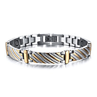 Magnetic Therapy Bracelet Men's Jewelry Health Care Silver Stainless Steel Bracelet