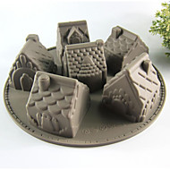 Creative Kitchen Gadget / Beste kwaliteit / Hoge kwaliteit Silicone Cake Molds 6 Even House A Microwave Oven Tool Siliconen 26*26*6.3