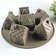 Creative Kitchen Gadget / Paras laatu / Korkealaatuinen Silicone Cake Molds 6 Even House A Microwave Oven Tool Silikoni 26*26*6.3