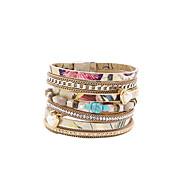 Γυναικεία Βραχιόλια με Φυλαχτά Wrap Βραχιόλια Δερμάτινα βραχιόλια Μοντέρνα Βοημία Style κοσμήματα πολυτελείαςΜαργαριτάρι Κρύσταλλο