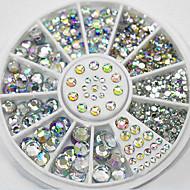 4 Size 280pcs Nail Art Tips Crystal Glitter Rhinestone Decoration Wheel